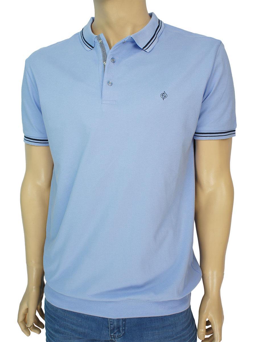 Однотонная мужская тенниска Fabiani 3633 Blue в голубом цвете