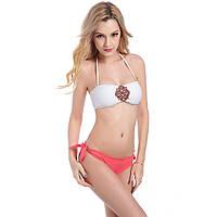 Стильный женский купальник белый верх розовый низ, фото 1
