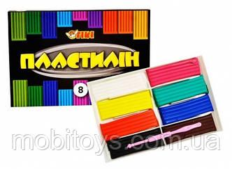 Пластилін 8 кольорів 160г пластикова упаковка   TK-52105 (24/72) (ТІКІ)