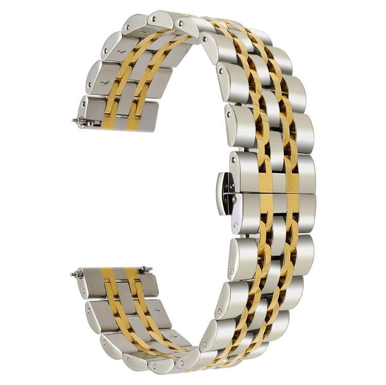 Ремешок 22мм универсальный BeWatch classic стальной Link Silver - Gold (1021428.9)