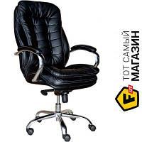 Офисное кресло руководителя с высокой спинкой кожа эко Примтекс плюс Barselona chrome D-5 черный