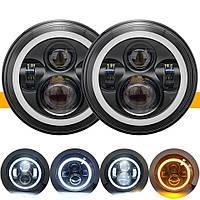 Цена за 1шт.Cветодиодная LED фара 75Вт Нива, УАЗ 469, ВАЗ 2101, 2121, FJ Cruiser, мотоцикл, мото 7 дюйм