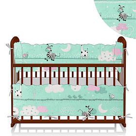 Защита в кроватку Алекс Зебра бирюзовая-розовая SKL11-223540