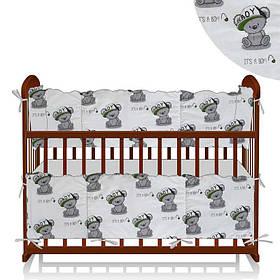 Защита в кроватку Мишка в кепке - Белый, Зеленый ТМ Беби-Текс SKL11-218887