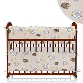 Защита в кроватку Овечка и цветы - молочный ТМ Беби-Текс SKL11-218890