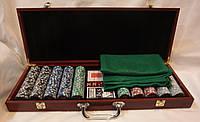 Покерный набор в деревянном кейсе на 500 фишек, фото 1