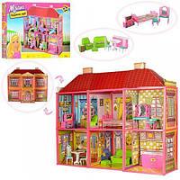 Игрушечный двухэтажный домик с 6 комнатами и мебелью для кукол типа Барби, в наборе 128 деталей арт. 6983