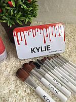 Набор кистей Kylie 12шт для макияжа Кайли кисточки в контейнере, Набір кистей Kylie 12шт для макіяжу Кайлі пензлика у контейнері
