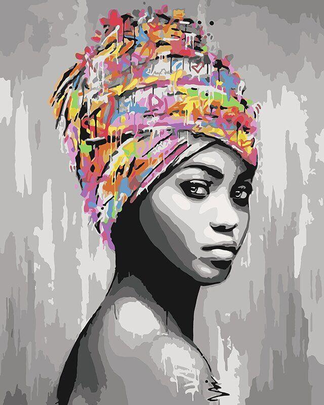 KH4587 Раскраска по номерам Африканская красота, Без коробки