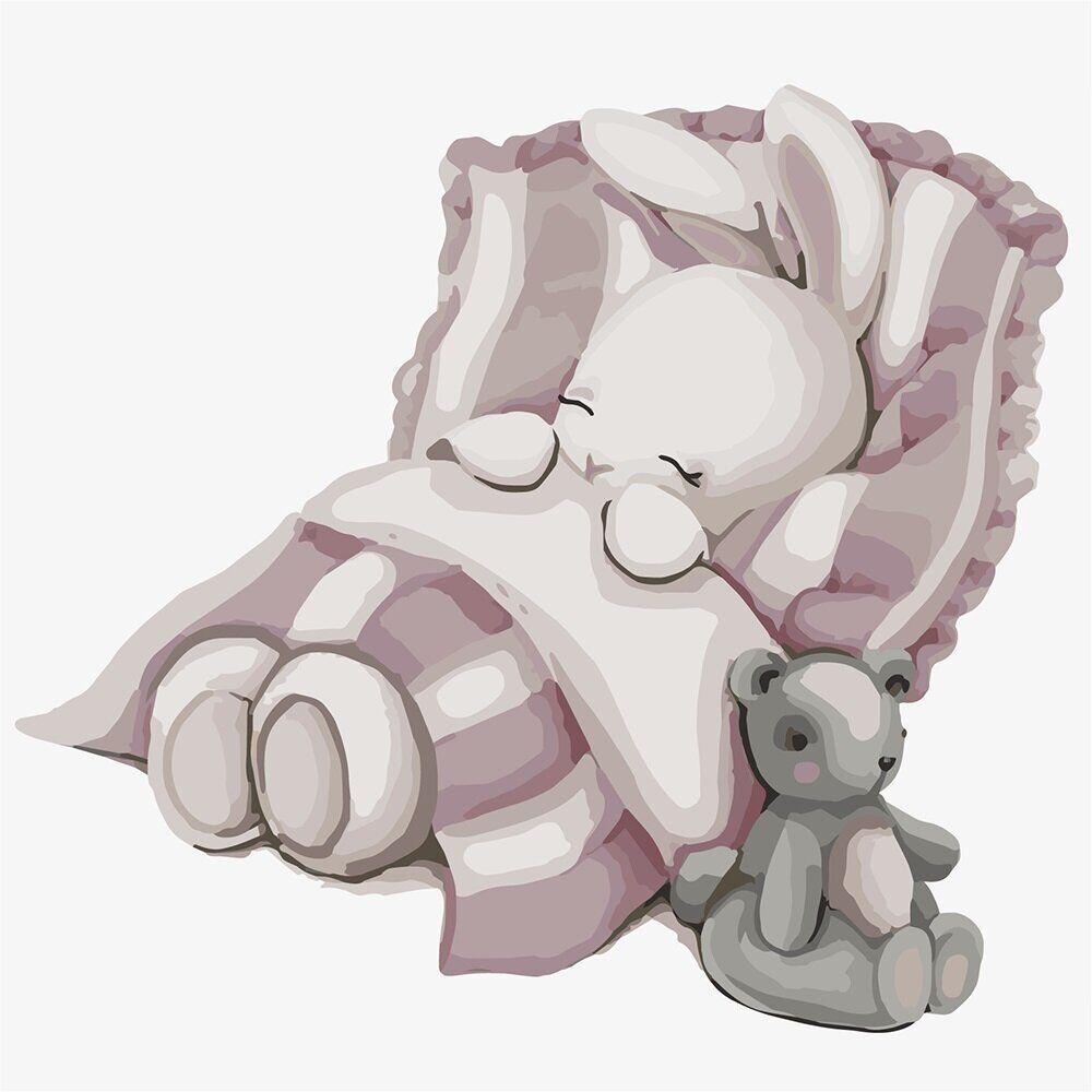 KHO2339 Картина-раскраска Спокойной ночи зайка, Без коробки