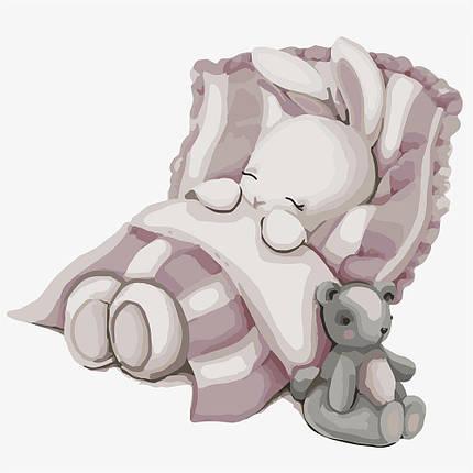 KHO2339 Картина-раскраска Спокойной ночи зайка, Без коробки, фото 2