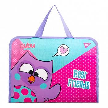Шкільна папка-портфель на блискавці з тканинними ручками YES Бубу 35х26см Рожева (491873)