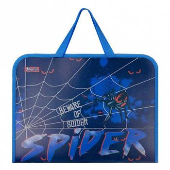 Шкільна папка-портфель на блискавці з тканинними ручками 1Вересня Spider 34х24см Синя (491857)