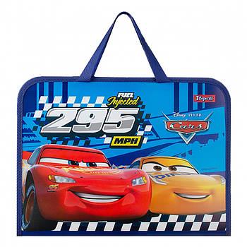 Школьная папка-портфель на молнии с тканевыми ручками 1Вересня Cars Разноцветная (491855)