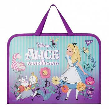 Шкільна папка-портфель на блискавці з тканинними ручками YES Alice 35х26см Фіолетова (491818)