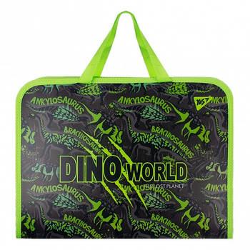 Школьная папка-портфель на молнии с тканевыми ручками YES Dino 35х26см Черный (491790)