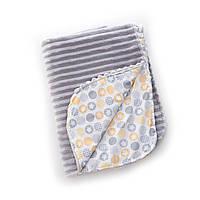 Плед детский гипоаллергенный хлопковый Trip Summer Twins, 104 x 80, светло-серый