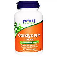 Грибы Кордицепс, 750 мг Now Foods, Cordyceps, 90 капсул