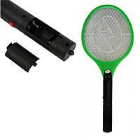 Мухобойка электрическая в виде рокетки Bug catcher на батарейках АА зелёная