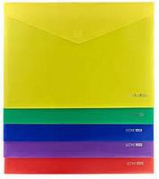 Папка-конверт А4 на липучці Economix А4 180 мкм, асорті