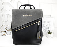 Женская сумка-рюкзак цвета серый+чёрный, натуральный замш+эко кожа структурная (под бренд)