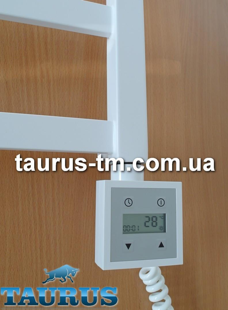 Белый квадратный электроТЭН KTX3: LCD экран + регулятор 30С-60C + таймер 24 ч. для полотенцесушителя; Польша