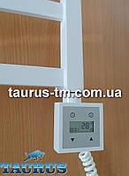 Белый квадратный электроТЭН с LCD экраном + регулятор + таймер (Польша), для полотенцесушителя