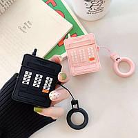Наушники Airpods 1/2 чехол 3D красивый мобильный телефон черный и розовый , силикон