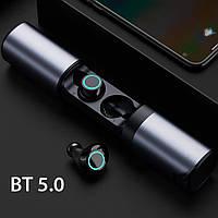 Беспроводные наушник Wi-pods S2 блютуз наушники Bluetooth 5.0 с зарядным чехлом-кейсом. Металлик