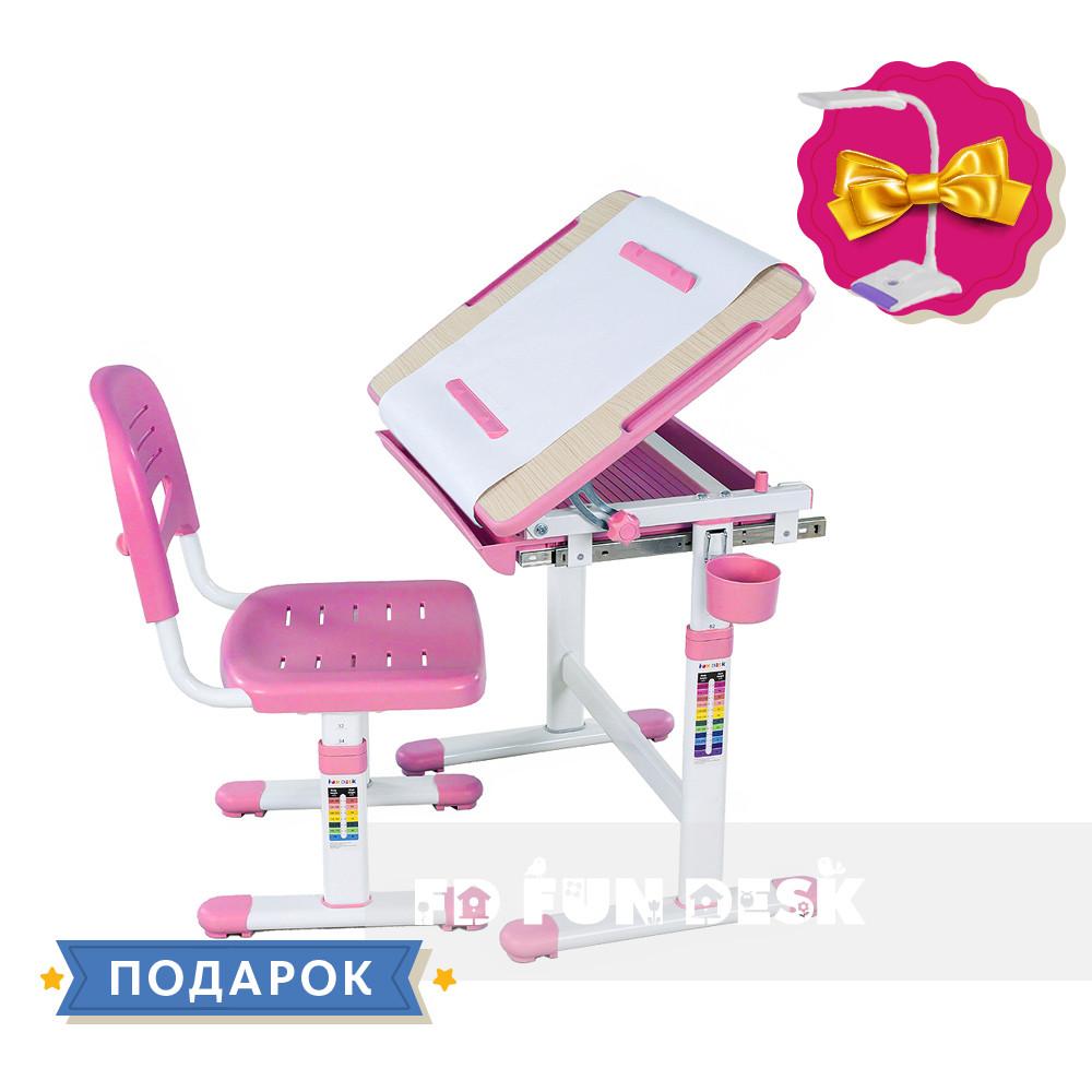 Дитяча парта-растішка і стілець FunDesk Bambino Pink