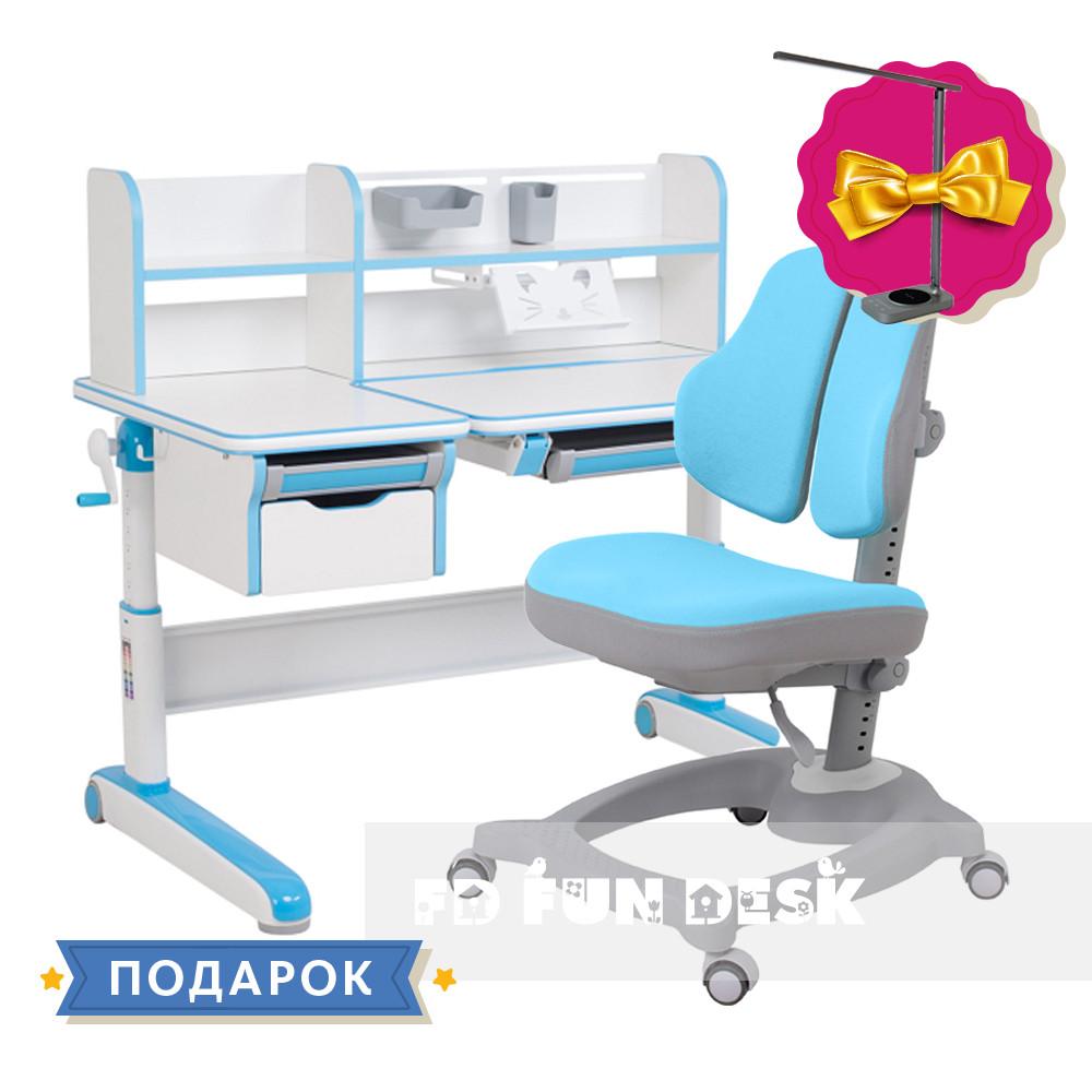 Комплект стол-трансформер Libro Blue+эргономичное кресло Diverso Blue Fundesk