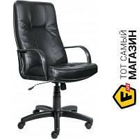 Офисное кресло руководителя с высокой спинкой кожа Примтекс плюс Спарта SP-A черный