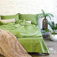 Постельное белье ТМ Вилюта сатин страйп тиаре 74 Tiare зеленый однотонный в полоску двуспальный