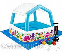 Детский надувной бассейн 157х157х122 с ручным насосом и подстилкой Intex 57470, фото 2