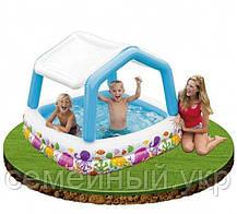 Детский надувной бассейн 157х157х122 с ручным насосом и подстилкой Intex 57470, фото 3