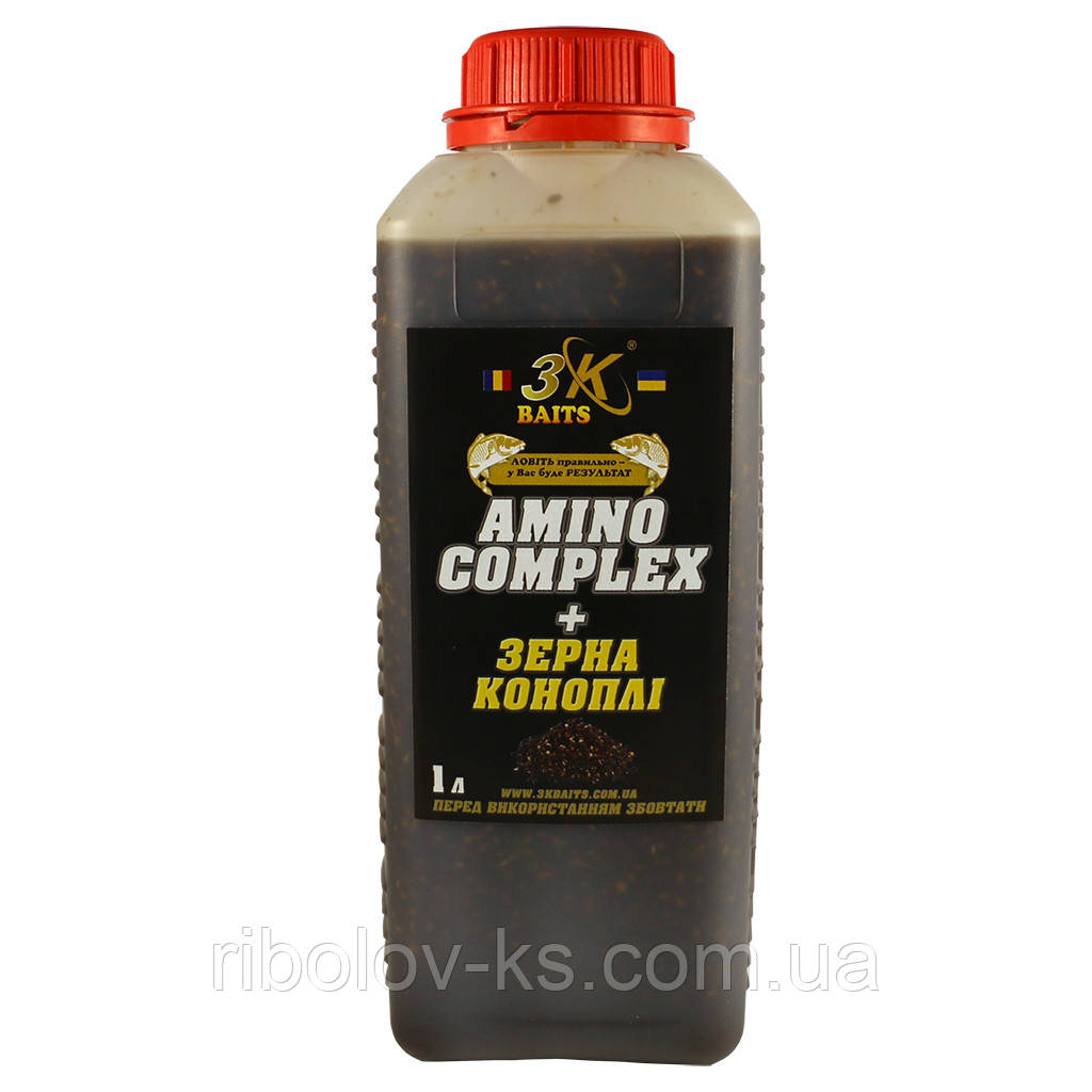 Зерна коноплі залиті в «AminoComplex» 3K Baits 1л