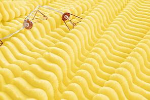 Плед покрывало 160х220 Желтый плюш полоска на кровать, диван, фото 3
