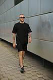 Комплект чоловічий чорний футболка шорти, фото 6
