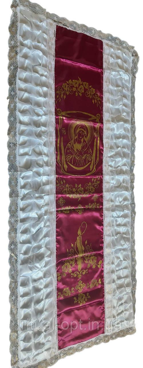 Покрывало ритуальное свеча с иконой Богородицы