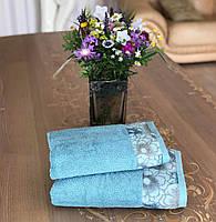 Полотенце махровое жаккардовое бордюр Оливия 50х90, 70х140 пудра, зеленое, голубое