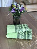 Полотенце махровое жаккардовое бордюр Примавера зеленое 50х90, 70х140
