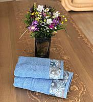 Полотенце махровое жаккардовое бордюр Оливия голубой  50х90, 70х140