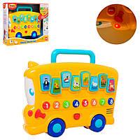 Игра 0676-NL (12шт) автобус, 24см, на колесах, звуки животн, св, на бат-ке, в кор-ке,30-24,5-7,5см