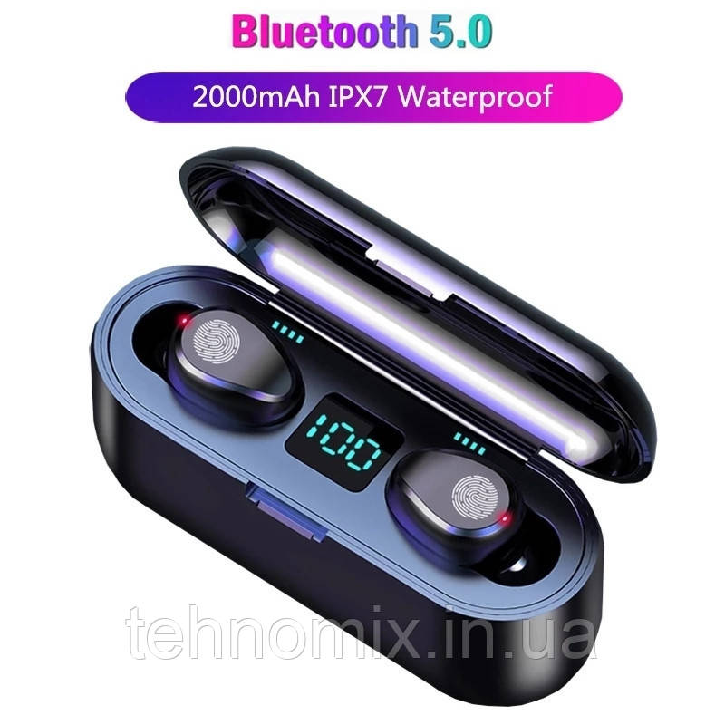 Беспроводные Bluetooth наушники F9. Индикатор заряда - LED Display. Power Bank/F9/