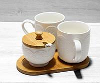 Чайный набор Naturel чашки + сахарница на бамбуковой подставке