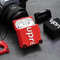 Наушники Airpods 1/2 чехол 3D SUPREME сумка для путешествий , красный и черный , силикон