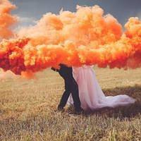 Оригинал! Maxsem Оранжевый дым, Цветной дым, кольоровий дим, помаранчевий дим (Средняя насыщенность)