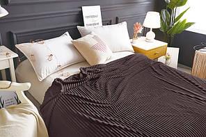 Плед покрывало 200х220 Шоколадный плюш полоска на кровать, диван, фото 3