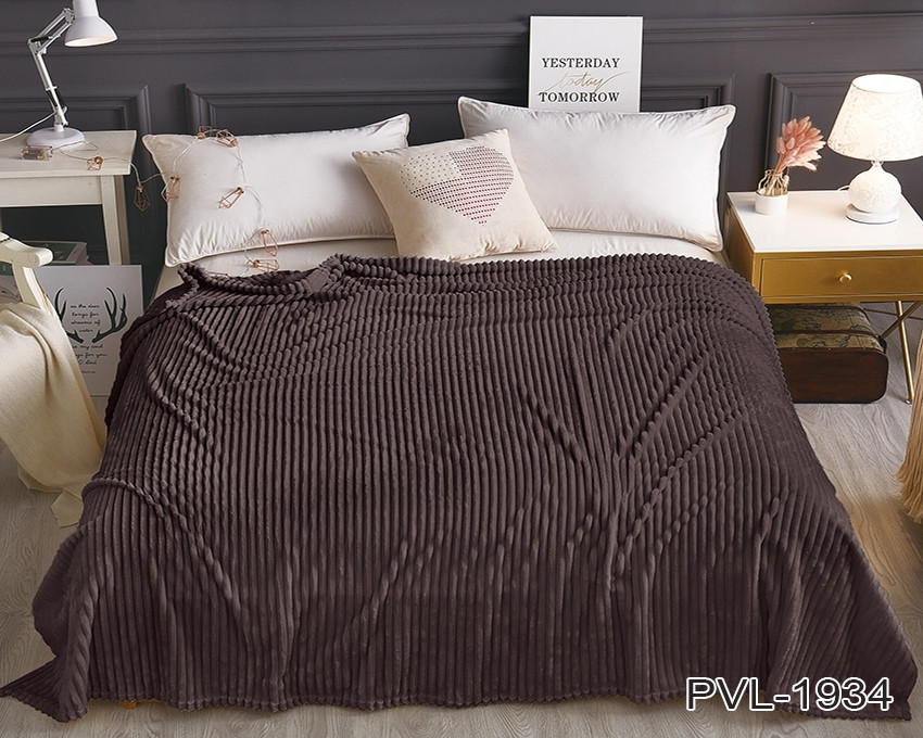 Плед покрывало 200х220 Шоколадный плюш полоска на кровать, диван