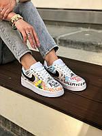 Кроссовки женские Nike Air Force Vlone Pop / Найк Аир Форс разноцветные с рисунком надписями принтом кеды